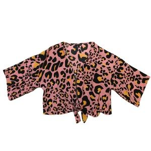 Topshop Zoe Animal Print Zip Through Top